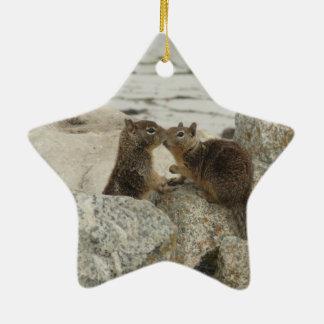 Ardillas de tierra en amor adorno navideño de cerámica en forma de estrella