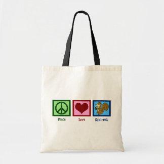 Ardillas del amor de la paz bolsa tela barata
