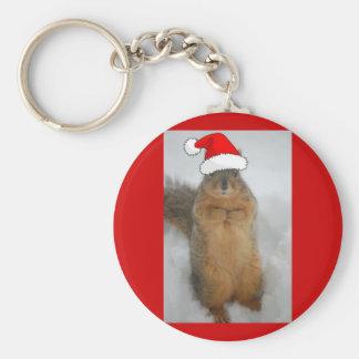 Ardillas del navidad llavero redondo tipo pin
