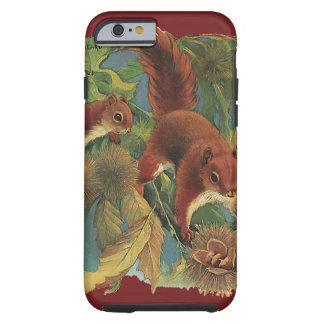 Ardillas del vintage, criaturas del bosque, funda resistente iPhone 6