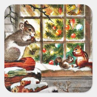 Ardillas en la ventana pegatina cuadrada