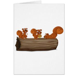 Ardillas en un registro tarjeta de felicitación