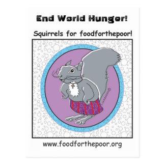 Ardillas para el foodforthepoor, tarjetas postales