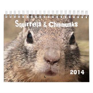 Ardillas y Chipmunks Calendario De Pared