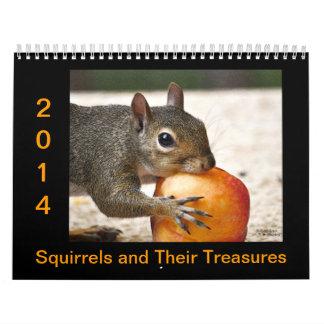 Ardillas y sus tesoros calendarios de pared