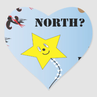 Are We Flying...North East South West Heart Sticker