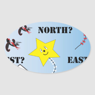 Are We Flying...North East South West Oval Sticker