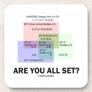 Are You All Set? (Math Set Theory Attitude) Drink Coaster
