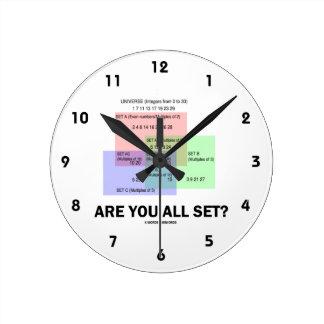 Are You All Set? (Math Set Theory Attitude) Round Clock