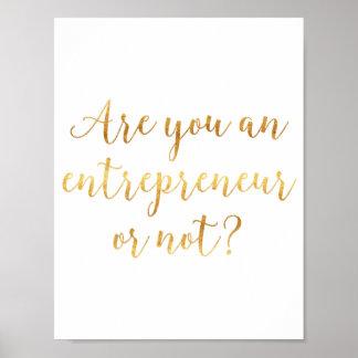 """Are you an entrepreneur or not?"" Cursive Script Poster"