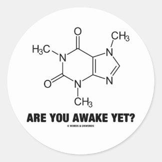 Are You Awake Yet? (Caffeine Molecule Attitude) Round Sticker