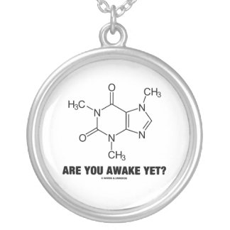 Are You Awake Yet? (Caffeine Molecule) Silver Plated Necklace