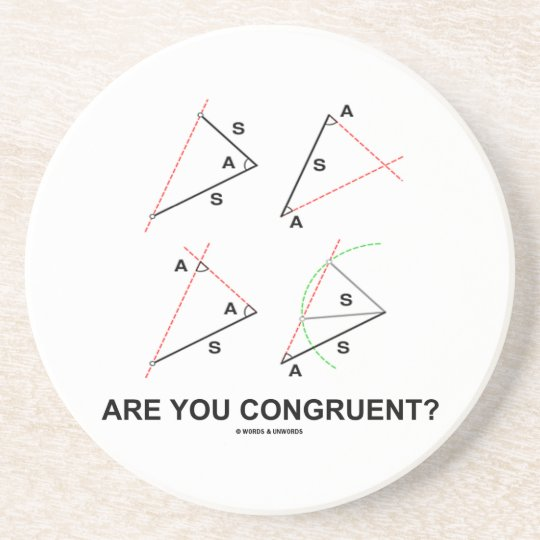 Are You Congruent? (Congruent Angles) Sandstone Coaster