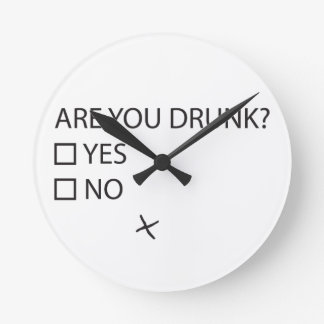 Are You Drunk Test Round Clock