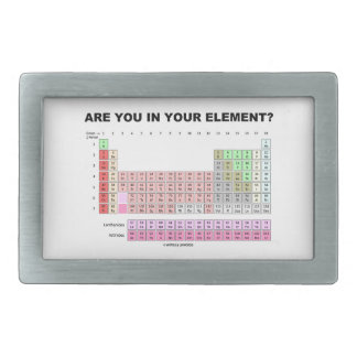Are You In Your Element? Periodic Table Humor Rectangular Belt Buckle