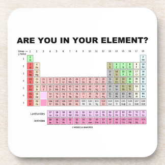 Are You In Your Element? Periodic Table Humor Beverage Coaster