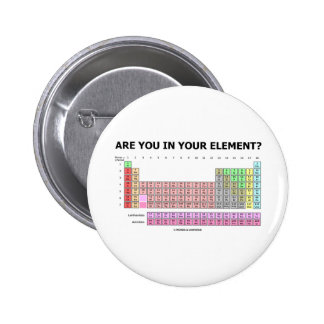 Are You In Your Element? (Periodic Table Humor) 2 Inch Round Button