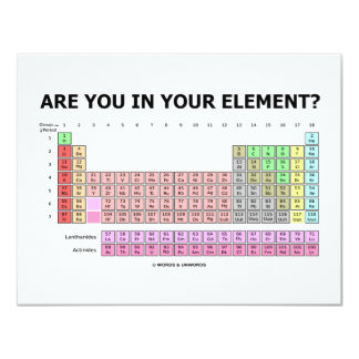 Are You In Your Element? (Periodic Table Humor) Card