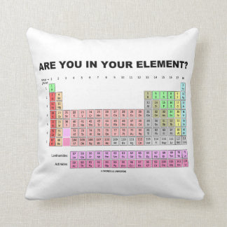Are You In Your Element? Periodic Table Humor Throw Pillow