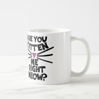 Are you kitten me right meow classic white coffee mug