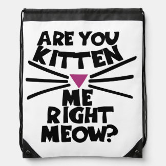Are you kitten me right meow drawstring bag