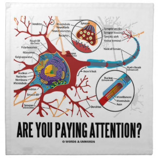 Are You Paying Attention? Neuron Synapse Humor Cloth Napkin