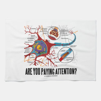 Are You Paying Attention? Neuron Synapse Humor Hand Towels