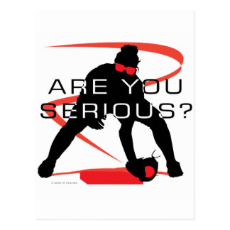 Are you serious Red Fielder Softball Postcard