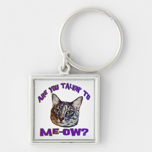 Are You Talkin' To Me-ow? Silver-Colored Square Keychain