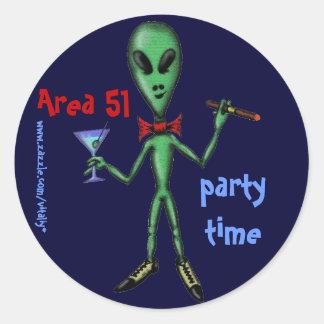 Area 51 funny party alien cartoon art sticker