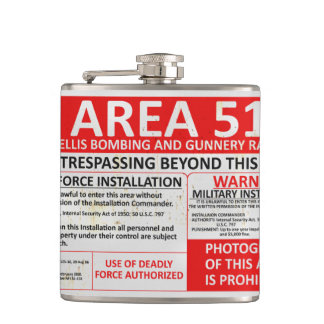 Area 51 No Trespassing Sign Flask