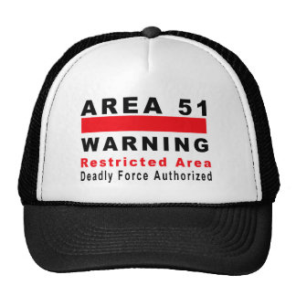 Área 51 que advierte gorras de camionero