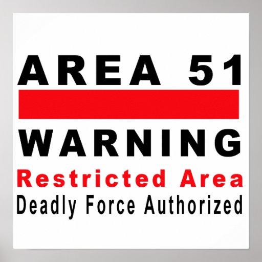 Área 51 que advierte impresiones