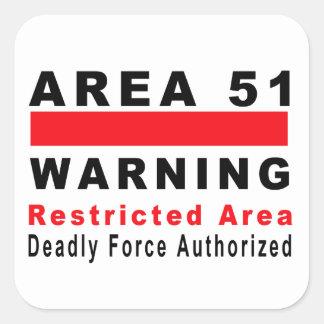 Área 51 que advierte colcomanias cuadradass