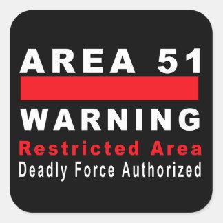 Área 51 que advierte pegatina cuadrada