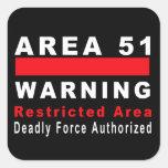 Área 51 que advierte pegatina cuadradas