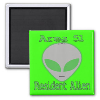 Area 51 Resident Alien 2 Inch Square Magnet
