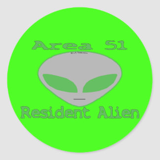 Area 51 Resident Alien Classic Round Sticker