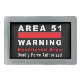 Area 51 Warning Rectangular Belt Buckle