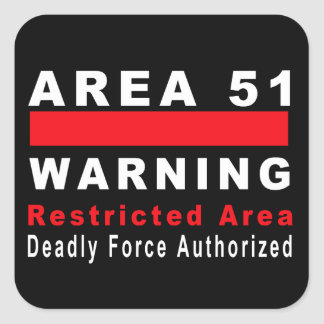 Area 51 Warning Square Sticker