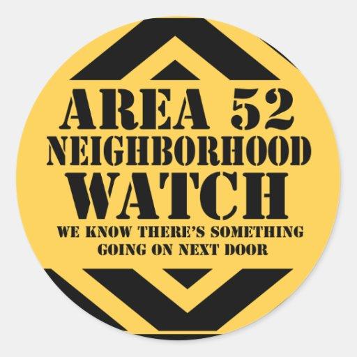 Area 52 Neighborhood Watch Round Sticker