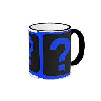 Área azul de la información del signo de interroga taza a dos colores