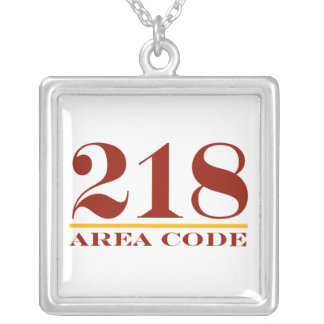 Area Code 218 Silver Plated Necklace