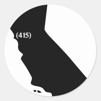 Area Code 415, California, Bay Area Round Stickers