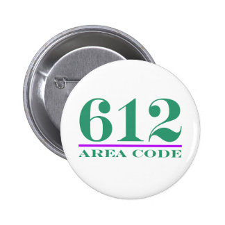 Area Code 612 Pinback Button