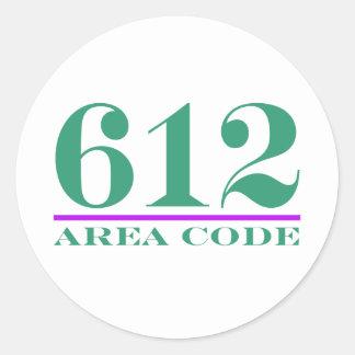 Area Code 612 Round Sticker