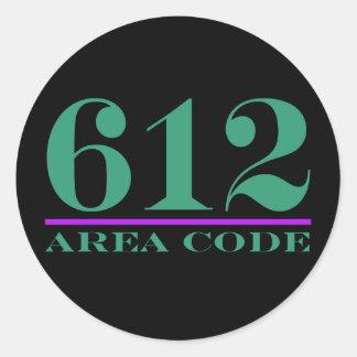 Area Code 612 Round Stickers