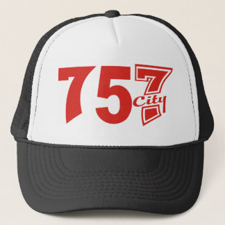 Area Code 757city - Red (on Black) Trucker Hat