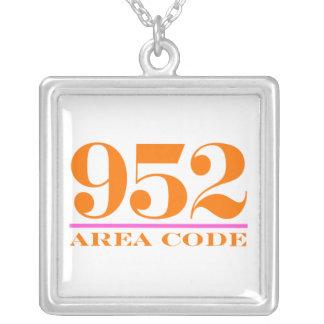 Area Code 952 Square Pendant Necklace