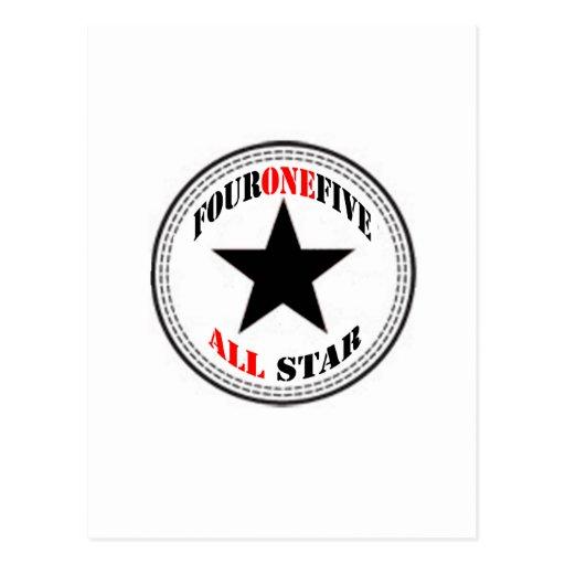 Area Code All Star - 415 San Francisco (black star Postcard